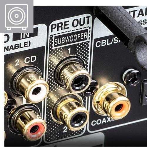 av receiver denon dra-800h hifi stereo síťový přijímač 5 hdmi vstupů 1 hdmi výstup 4k hdmi arc výkon 100 W na kanál Bluetooth phono vstup hi-res audio source direct ab reproduktory auto eco funkce snadné nastavení Bluetooth heos tlačítka rychlé volby