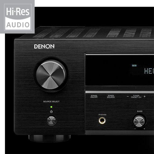 av receiver denon dra-800h hifi stereo síťový přijímač 5 hdmi vstupů 1 hdmi výstup 4k hdmi arc výkon 100 W na kanál Bluetooth phono vstup hi-res audio source direct ab reproduktory auto eco funkce detailní zvuk flac usb port