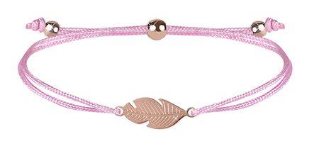 Troli Šňůrkový bransoletka z różowym piórkiem / brązem