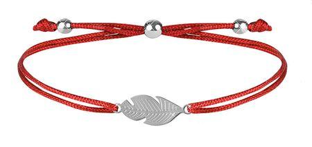 Troli Šňůrkový bransoletka z czerwono-stalowym piórkiem