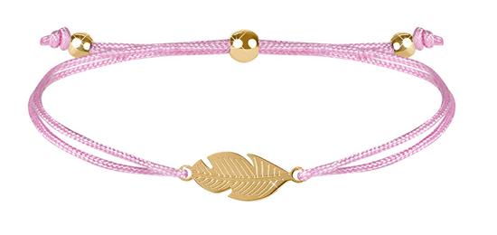 Troli Šnúrkový náramok s pierkom ružová / zlatá
