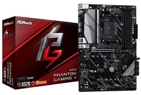 ASRock X570 Phantom Gaming 4, DDR4, USB 3.2 Gen2, AM4, ATX osnovna plošča