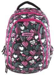 Target plecak szkolny 2 w 1 Target serce, różowo - zielony