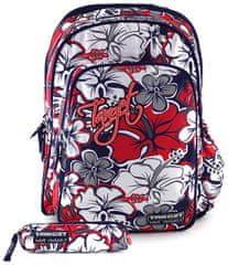 Target Iskolatáska, piros - szürke virág, tolltartóval