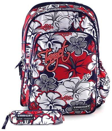 Target školska torba, crveno-sivo cvijeće, uključena pernica