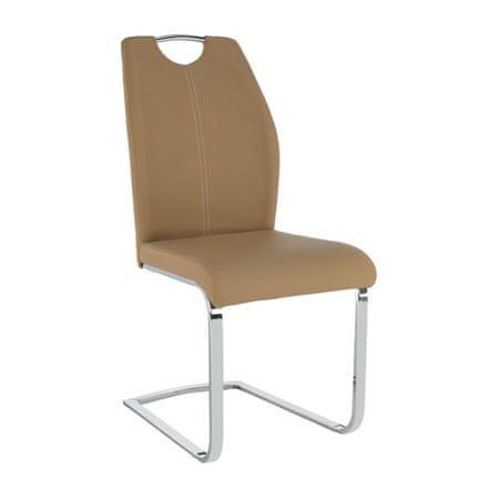 Stolička, ekokoža béžová/biele prešitie, NESTA