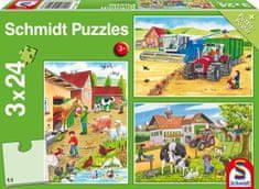 Schmidt 3 Jigsaw Puzzles - On the Farm