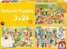Schmidt 3 Jigsaw Puzzles - A Day in the Children's Garden