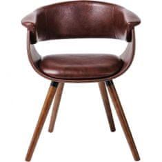 KARE Nugátově hnědá polstrovaná židle s područkami Monaco