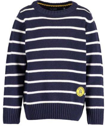 Blue Seven fiú csíkos pulóver, 110, sötétkék