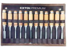 Extol Premium Dláta rezbárske Cr-V, 12-dielna sada, 200mm, drevené puzdro