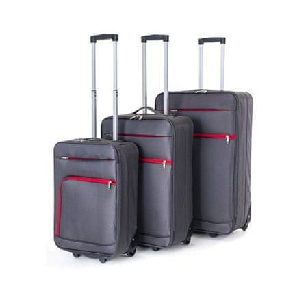 Pretty up Sada cestovných kufrov TEX01, 3 ks, S-L, sivá