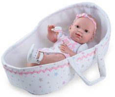Nines 30400 BRN dojenček, deklica v košarici, 37 cm