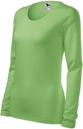 Malfini Hráškově zelené dámské triko s dlouhými rukávy a kulatým výstřihem