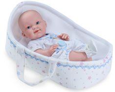 Nines 30401 BRN dojenček, deček v košarici, 37 cm