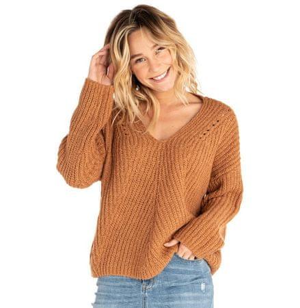 Rip Curl dámský svetr Woven V Neck Sweater S hnědá