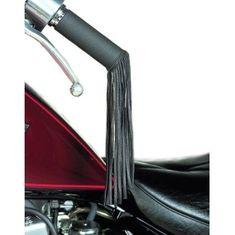 Held kožené strapce na rukoväti motocykla, kože, čierne
