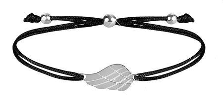 Troli Zapestnica iz črne vrvice s angelskim krilom v jekleni barvi