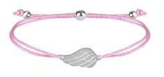 Troli Zapestnica iz vrvice z angelskimi krili roza / jekla
