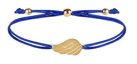Troli Šňůrkový náramek s andělským křídlem modrá/zlatá