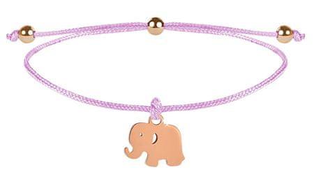 Troli Húzózsinór rózsaszín / bronz elefánt karkötő
