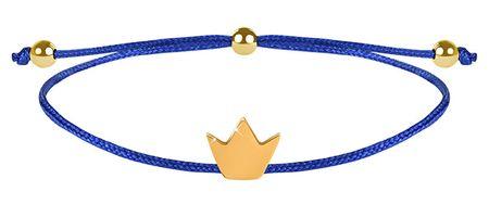Troli Kötött karkötő kék / arany korona