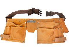 Extol Craft Pás na nářadí kožený, 10 kapes, 2 poutka, háček na svinovací metr
