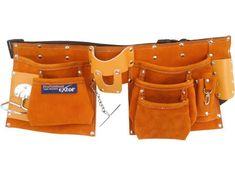 Extol Premium Pás na nářadí kožený, 9 kapes (2 velké, 3 střední, 4 malé)