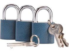 Extol Craft Zámky visacie, sada 3ks na spoločný kľúč, 6 kľúčov