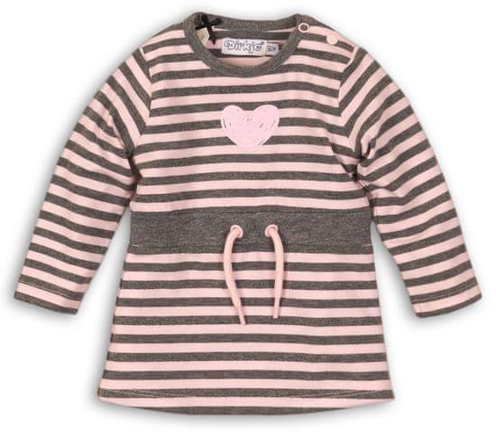 Dirkje dívčí šaty 80 růžová/šedá