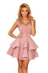 Numoco Exkluzivní šaty s krajkovým topem lila