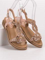 Stylomat Semišové sandálky s krystalkami