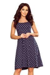 Numoco Jednoduché puntíkaté šaty tmavě modré