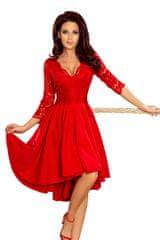 Numoco Krajkové šaty s asymetrickou sukní červené