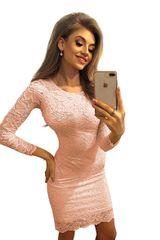 Numoco Broskvové krajkové šaty