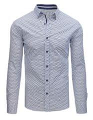 BUĎCHLAP Biela košeľa s modrým vzorom
