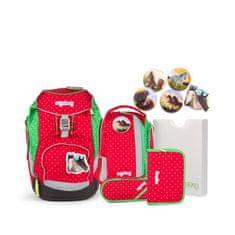 Ergobag Školská taška Set pack Červeno-zelená bodkovaná