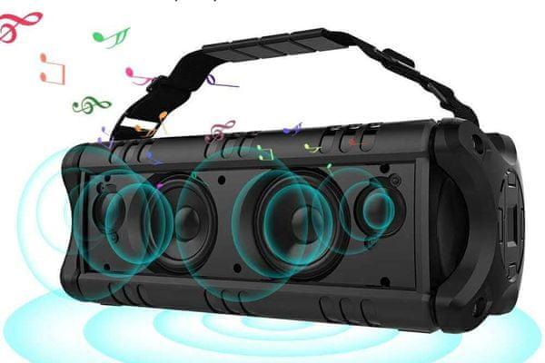 vezeték nélküli Bluetooth 4.2 edr hangszóró evolveo power armor 6 60 w usb microSD aux ipx5 vízálló 24 órás akkumulátor élettartama 8000 mah akkumulátor sokféle módon csatlakoztatható