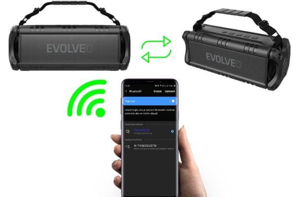 vezeték nélküli Bluetooth 4.2 edr hangszóró evolveo armor power 6 60 w usb microSD aux ipx5 vízálló 24 órás akkumulátor élettartam 8000 mah akkumulátor sokféle módon beépített equalizer