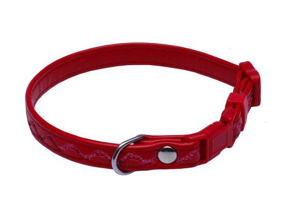 BAFPET Obojek STŘÍBRNÉ VLNKY 18-28 cm červená