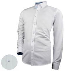BUĎCHLAP Biela košeľa s modrými kontrastnými prvkami V278