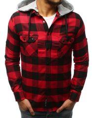 BUĎCHLAP Čierno-červená kockovaná košeľa s kapucňou