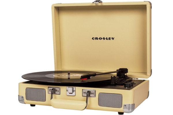 kufříkový retro gramofon crosley cruiser deluxe 3 rychlosti otáček 33 45 78 rca out výstup sluchátkový výstup vestavěné reproduktory autostop diamantová jehla pitch control bluetooth originální