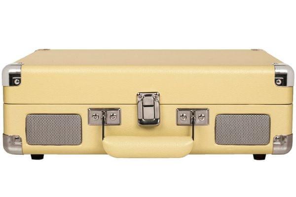 kufříkový retro gramofon crosley cruiser deluxe 3 rychlosti otáček 33 45 78 rca out výstup sluchátkový výstup vestavěné reproduktory autostop diamantová jehla pitch control bluetooth originální připojení dalších reproduktorů a sluchátek