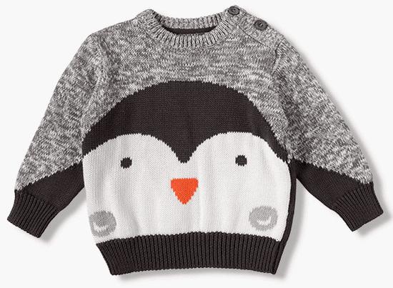 Losan chlapecký svetr s tučňákem 74 šedá