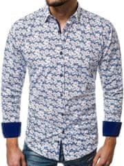 BUĎCHLAP Modrá pánska košeľa s kvetinovým vzorom V/K39