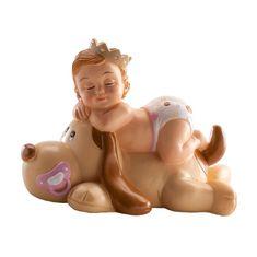 Dekora Figurka na dort spící miminko holčička na pejskovi