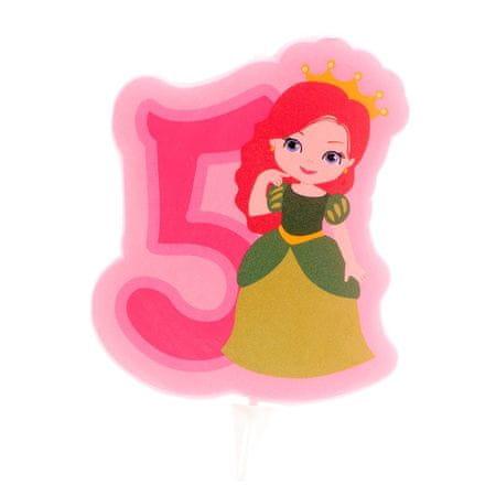 Dekora Svíčka na dort číslice pět princezna 7cm