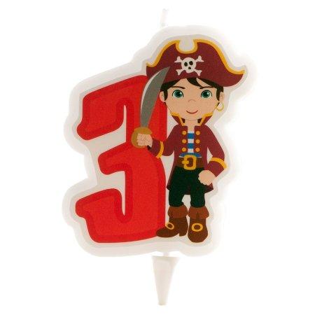 Svíčka na dort číslice tři pirát 7cm