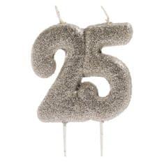 Dekora Dortová svíčka stříbrná číslo 25
